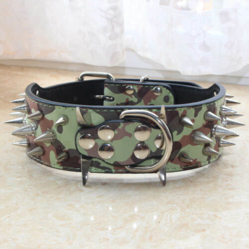 Large Breed Leather Spiked Studded Dog Collars PitBull Mastiff Terrier S M L XL