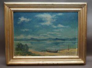 Richard Neuz (Kälberbronn 1894 - 1976 Stuttgart) - Einsames Boot am See Voralpen