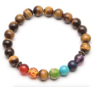 UK-Tigers-Eye-Chakra-7-Crystal-Gemstone-Bead-Bracelet-Reiki-Healing-Balance