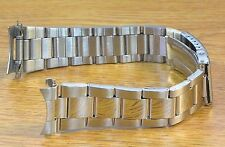 Oyster Style Silver Tone 20mm Curved End Stainless Steel Metal Watch Bracelet