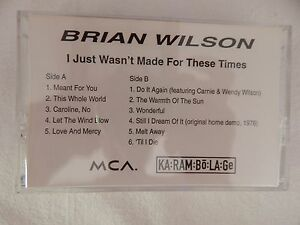 """Brian Wilson """"I Just Wasn't Made For These Times"""" RARE ADVANCE CASSETTE! RARE!!"""