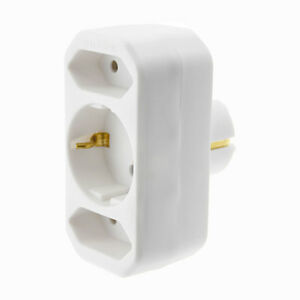 schwaiger 3er stecker steckdose adapter 1x schuko 2x euro adapterstecker neu ebay. Black Bedroom Furniture Sets. Home Design Ideas