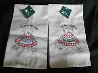 Lot Of 2 Matching Trim A Home Christmas Khaki Hand/dish Towels Teddy Bear