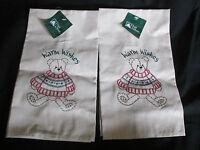 Lot Of 2 Matching Trim A Home Christmas Khaki Hand/dish Towels Teddy Bear