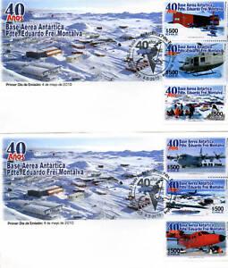 Chile-2010-2-FDCs-40-yrs-Antarctic-Base-President-Frei