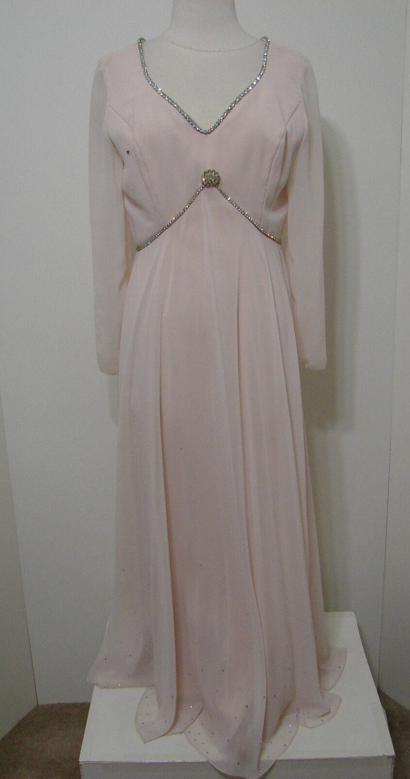 Alyce Designs Gown Vintage MOB Sheer Pink Rhinestone Crystal Empire Talon Zip 12