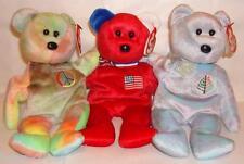 NEW TY Teddy BEAR Picnic 3 Bears Issy  Dallas +  America + Peace Ideal Gift