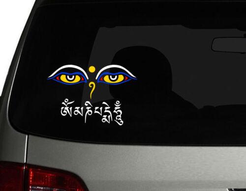 "w Nepal Tibet Eyes of Buddha //w mantra OM MANI PADME HUM Car Decal Sticker 7.5/"""