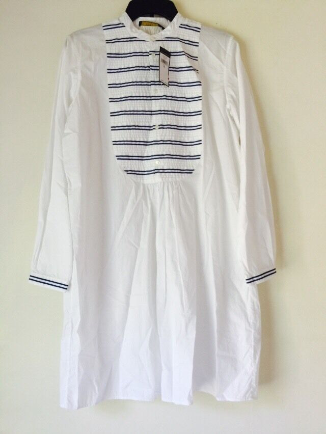 NWT Polo Ralph Lauren Striped-Bib Shirtdress. Größe 10.