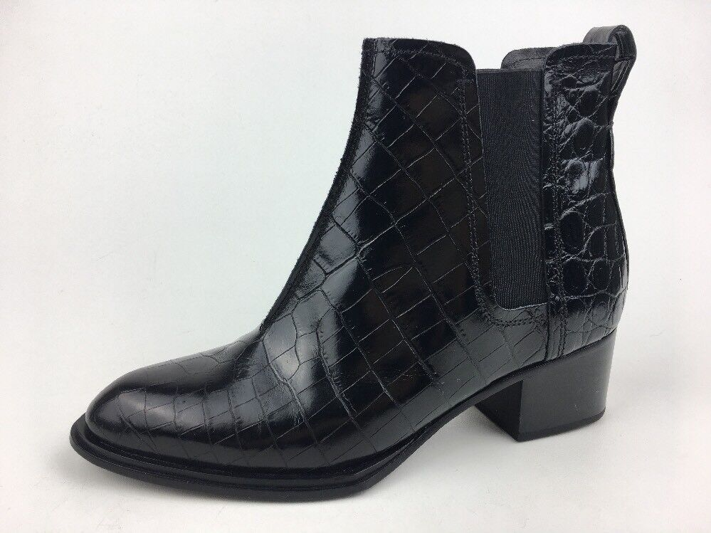 Rag & Knochen 'Walker II' Krok Geprägt Kroko Leder Stiefel, Schwarz Größe Us 7