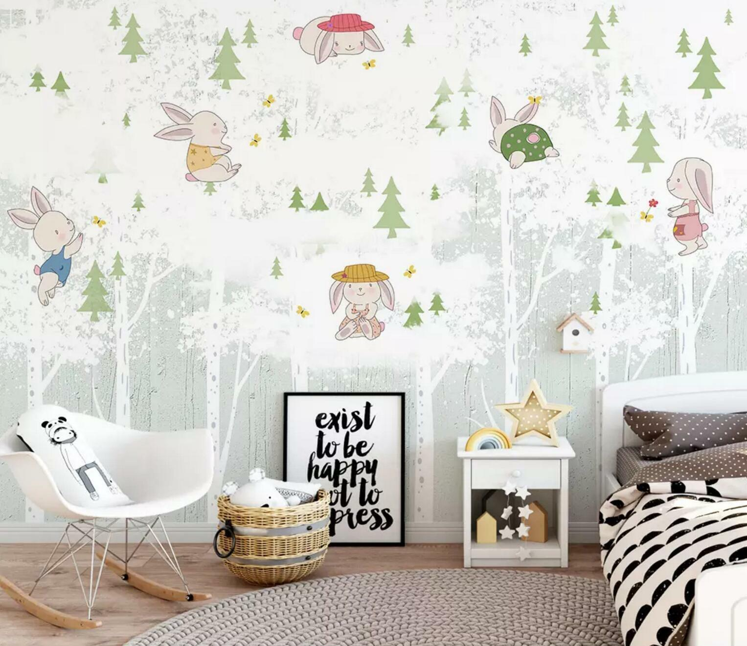 3D Rabbit Forest 56 Wall Paper Exclusive MXY Wallpaper Mural Decal Indoor AJ