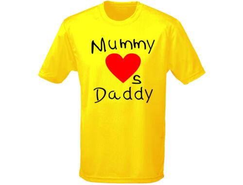12 Cores Papai Mamãe adora crianças Dia Dos Namorados Camiseta Unissex