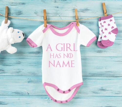 A Girl has no name bodysuit baby grow vest.