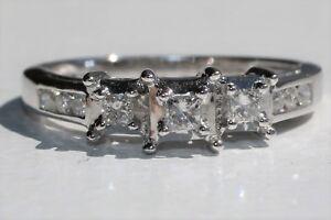 2bb7a245c219e Details about 14K White Gold Past Present Future 3-Stone Princess Cut  Diamond Engagement Ring