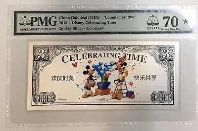 Celebrating Time in Fold 2015 China Disney 3 Grams of Colored Solid Silver