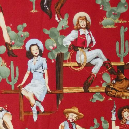 Alexander Henry de la hanche Western Cowgirl Rodeo Pin Up Girl tissu-Rouge