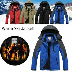 Men/'s Outdoor Waterproof Ski Snow Jacket Thermal Fleece Lined Winter Work Coats