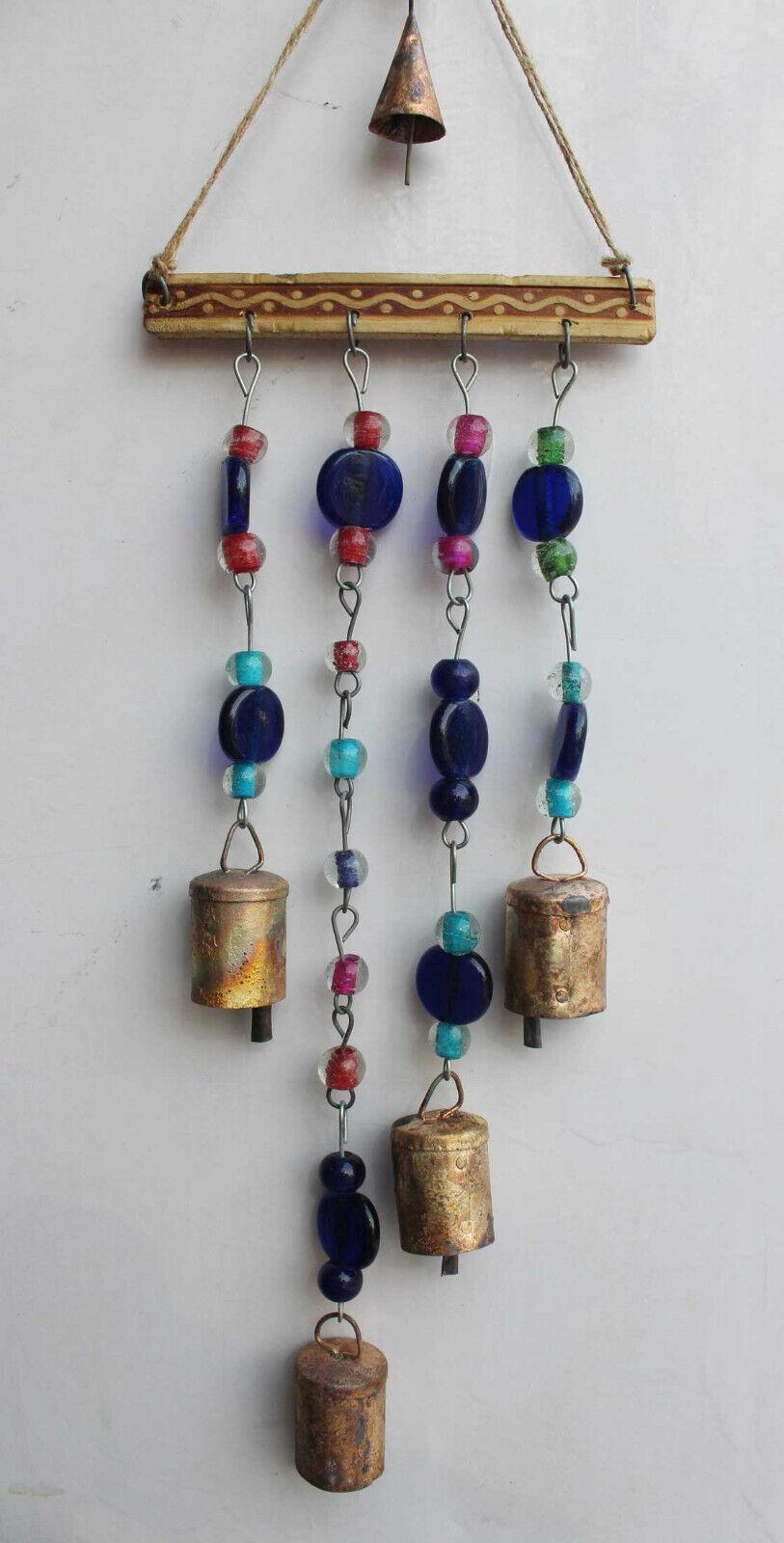 Recycled Iron Bells Boho Decor Windchime with Beads & Bells Suncatcher Outdoor