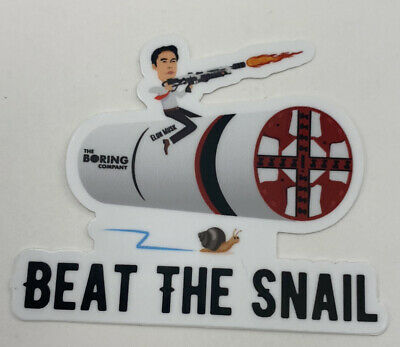 Elon Musk Boring company Beat The Snail Sticker Flame  2.5H X 3W Inches Decal