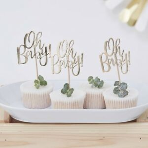 Gold-dejouee-Oh-Baby-Cupcake-Toppers-Baby-Shower-Gender-Reveal-parti-vaisselle