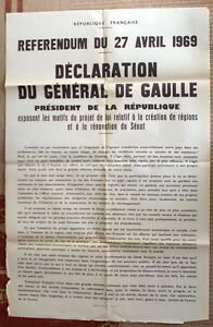 Affiche Ancienne Referendum 1969 DE GAULLE Original French
