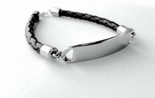 MILAN Black Leather /& Stainless Steel Mens Personalised Bracelet Engraved Gift