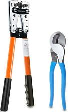 Battery Cable Lug Crimping Tool Kit Wire Cutter Pliers Awg Cutting And