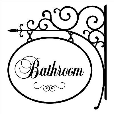 BATHROOM HANGER SIGN  Wall Decal Home Lettering Words Quote Decor