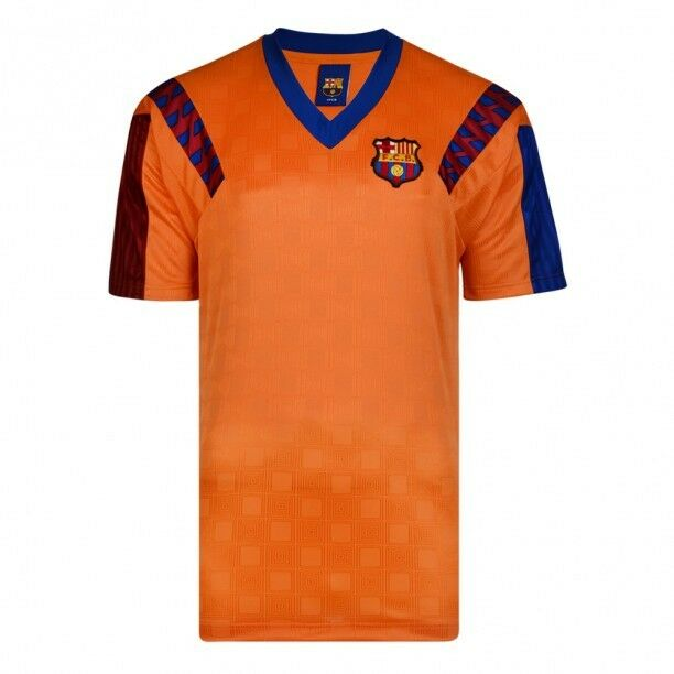 fd70b302e Score Draw Mens Barcelona 1992 European Cup Final Retro Football Shirt Gold  S for sale online