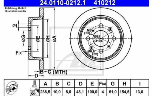 2x ATE Bremsscheiben hinten Voll 238mm für HONDA CIVIC CRX 24.0110-0212.1