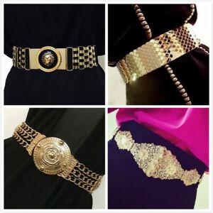 Vintage Womens Waistband Metal Elastic Stretch Buckle Wide Waist Belt~clearance