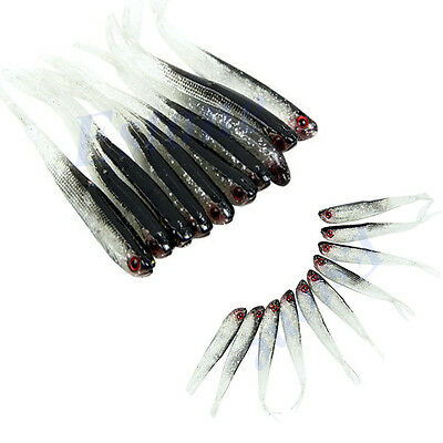 Lots 10pcs Soft Silicone Lures Tiddler Bait Fluke Fish Saltwater Fishing Tackle