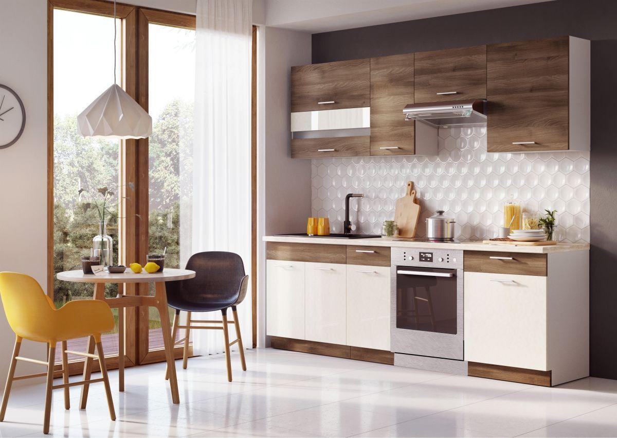 Küche 240cm Schränke Schränke Schränke Küchenzeile Zimt Akazie -  Vanille glanz -  Neu&Schnell 1bc133