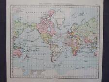 Landkarte Weltverkehr und Kolonialgebiete, Dr. A.Berg, Leipzig um 1905