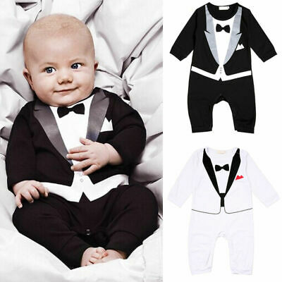 0-18M Infant Baby Boy Kids Gentleman Jumpsuit Romper Bodysuit Onesuit  Clothes