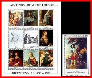 LOUVRE-MUSEUM-1993-MNH-PAINTINGS-M-S-S-S-DURER-BOTTICELLI-VAN-DYCK