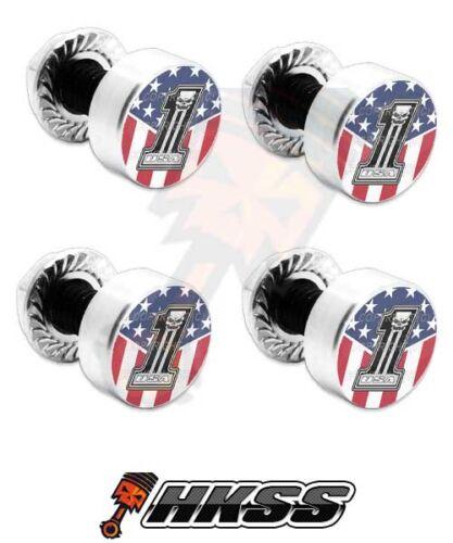 USA SKULL NO 1 RWB PJ9 4 Silver Billet Aluminum License Plate Frame Tag Bolts