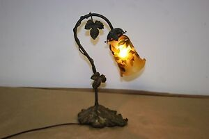 FRENCH-ART-DECO-STYLE-HANDMADE-BRONZE-TABLE-LAMP-GALLE-STYLE-GLASS-SHADE-2