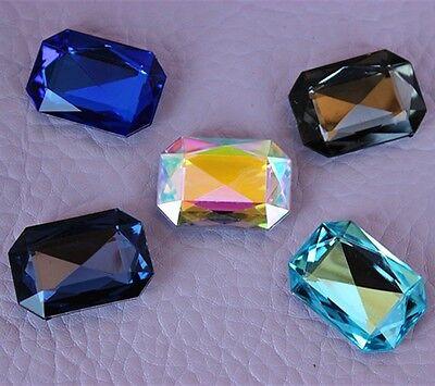 10PCS 18*25mm Acrylic Crystal Octagon Rhinestone Pointback Beads Gem ZZ142