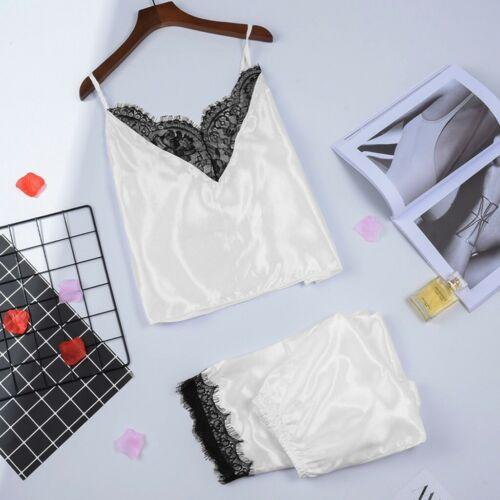 Women Stain Lace Lingerie Nightdress Pajamas Camisole Long Trouser Sleepwear CO