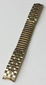 DIPLOMAT-VINTAGE-13MM-GOLD-TONE-STAINLESS-STEEL-STRETCH-BAND-BRACELET-STRAP-NOS