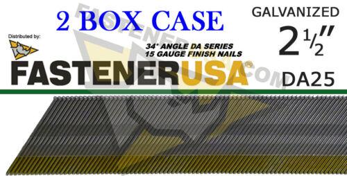 "DA25 15 Gauge Galvanized Angled Finish Nail 34 Degree 2 1//2/"" Galv 4,000 ct case"