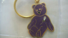 LOT 2 BEANIE BABY PRINCESS DI PURPLE BEAR ENAMEL KEYCHAIN COLLECTIBLE NEW