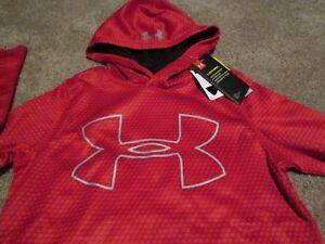 83932bf00 NEW Boys UNDER ARMOUR COLDGEAR STORM Hoodie Red w/ Big UA Logo YXS7 ...