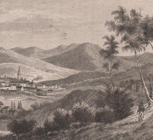 1840 Fine gravure sur acier Bagnères-de-Bigorre Hautes-Pyrénées Occitanie