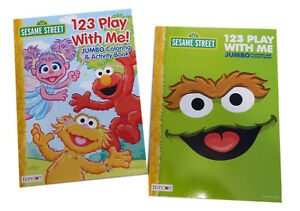 NEW Set of 2 Sesame Street Elmo Zoe Oscar Kids Coloring Book ...