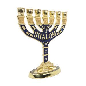Menorah-Seven-branched-Candle-Holder-Jerusalem-Blue-Enamel-Israel-Judaica-5-034