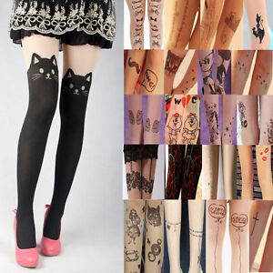 Sexy-Ladies-Vanguard-Groomed-Tattoo-Socks-Sheer-Pantyhose-Mock-Stockings
