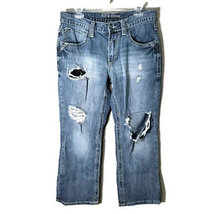 Hommes Botte Relaxed Axe 32x28 Et 32x30 Couronne Jeans tag Ripped Distressed RgnnxZFwqB