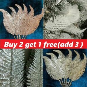 6PCS Christmas Tree Decoration Clip on Feather Glittery Baubles Ornament 2020